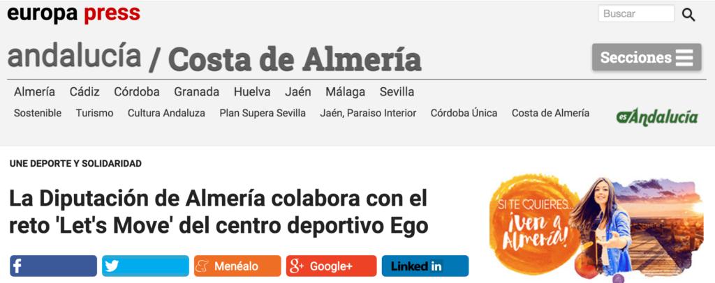 La Diputación de Almería colabora con el reto Let s Move del centro deportivo Ego